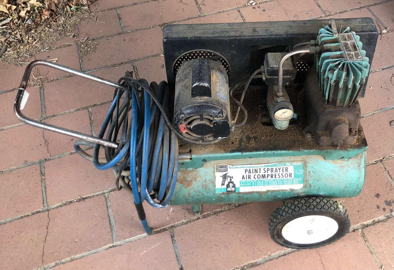 Lot # 220 - Vintage Sears Paint Sprayer Air Compressor  (main image)
