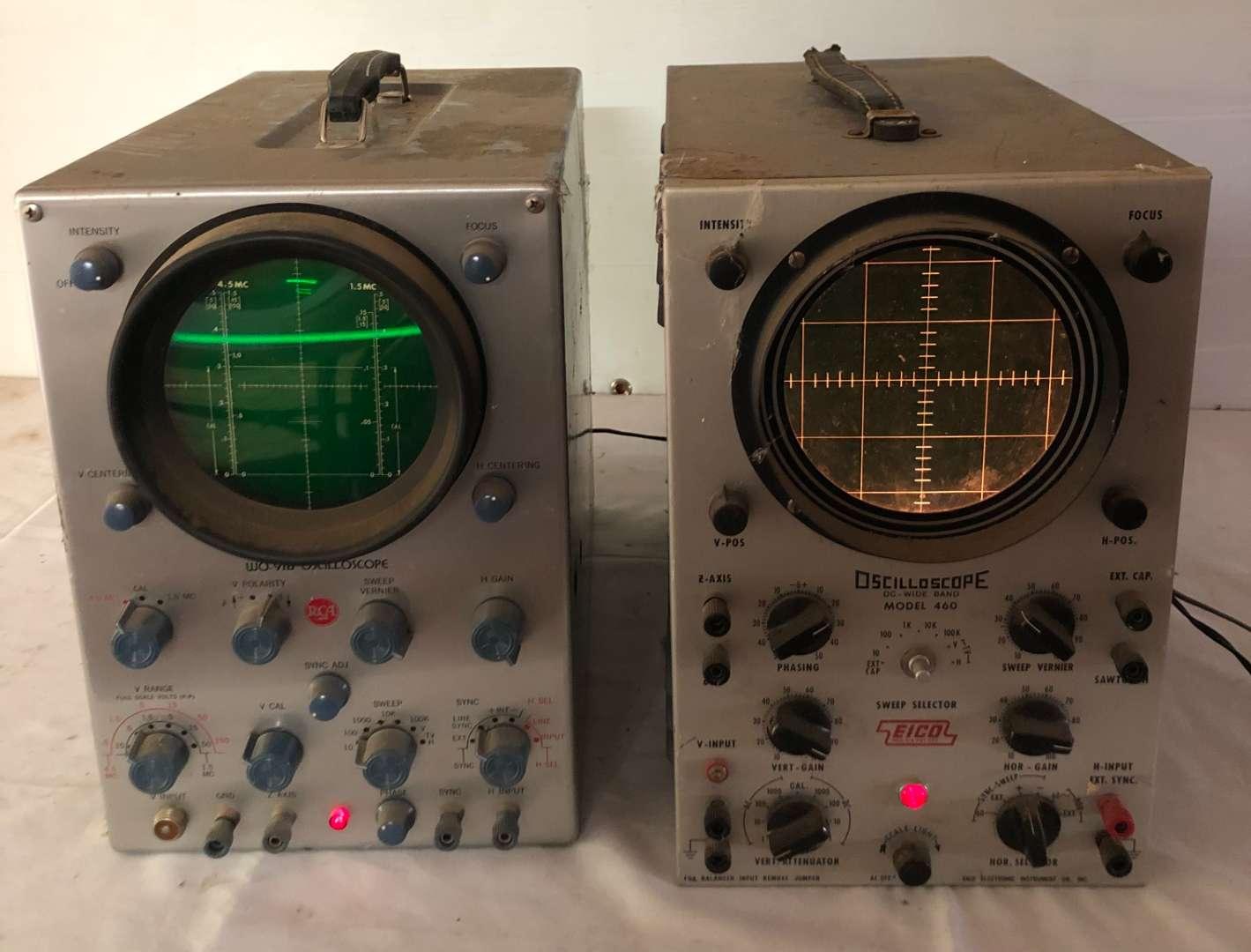Lot # 245 - 2 Vintage Oscilloscopes, EICO and RCA (main image)