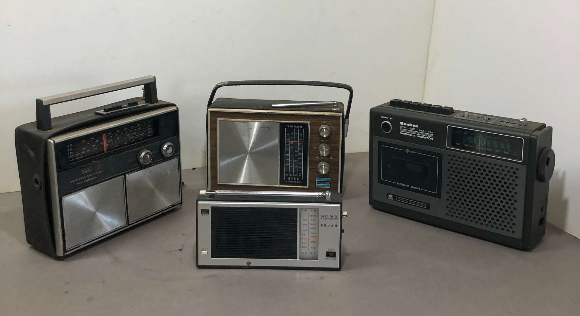Lot # 266 - Lot of Various Radios and Cassette Recorder Afco, Sankyo, Sony, Sears  (main image)