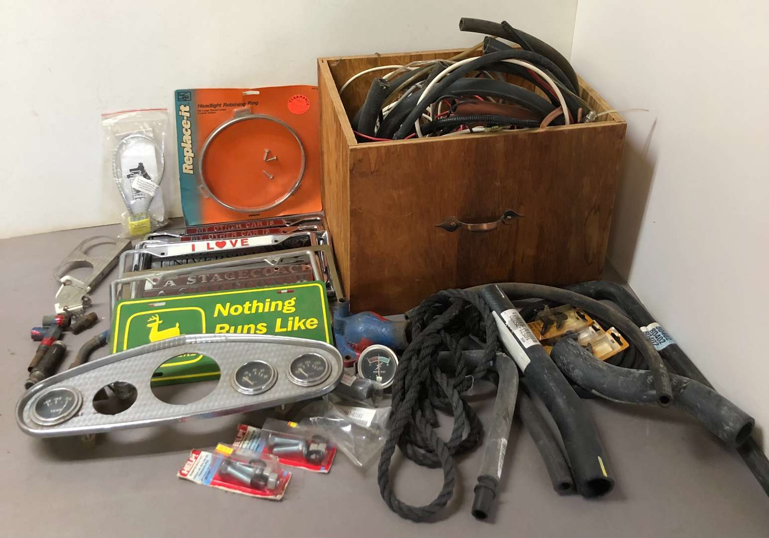 Lot # 280 - Lot of Car Parts, License Plate Frames, Hoses and More (main image)