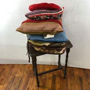 Lot # 287 - Vintage Side Table with Misc Seat Pillows