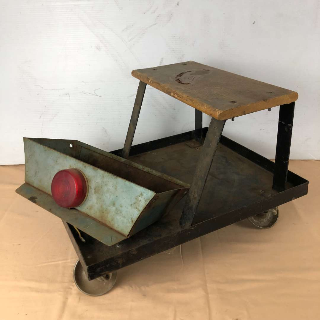 Lot # 288 - Automotive Roller Seat Chair Creeper & Vintage Metal Tray Attachment (main image)