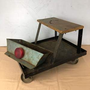Lot # 288 - Automotive Roller Seat Chair Creeper & Vintage Metal Tray Attachment