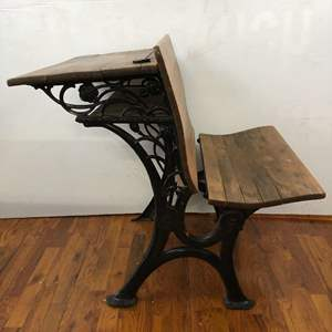 Lot # 290 - Antique Schoolhouse Desk - Ornate Iron Sides & Top with Inkwell Opening