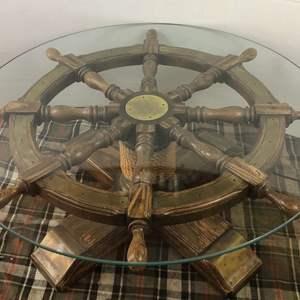 Lot # 10 - Vintage Ships Wheel Coffee Table
