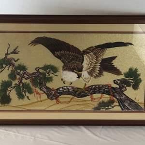 Lot # 52 - Eagle Handmade Bunka Embroidery Framed Artwork