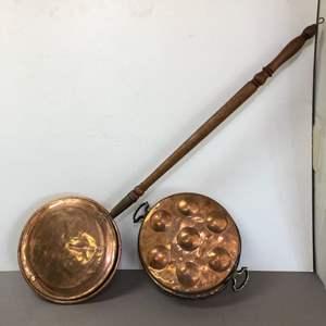Lot # 83 - Vintage Copper Bed Warmer & Vintage Copper Egg Poacher