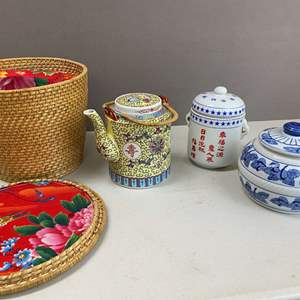 Lot # 120 - Asian Style Tea Pot with Basket and Tea Storage Container