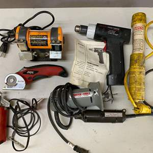 Lot # 125 - Large Lot of Tools - Dremel, Saw Sharpener, Cutout Tool, Hand Saw, Drill and more