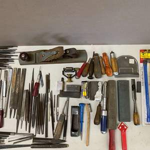 Lot # 130 - Huge Lot of Tools - Files, Punches, Blades, Hand Planer, and more