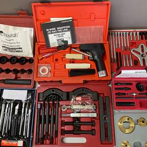 Lot # 132 - Lot of Tools - Knife Set, Wire Labeler, Gasket Punch Set, Pulley Puller, Gear Puller, Router Template Guide Set