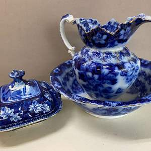 Lot # 135 - Antique F & Sons Belmont Burslem Wash Bowl and Pitcher Set and R.S.W. Blue Dish Scenery