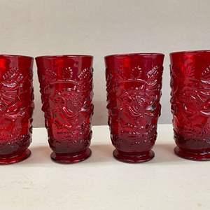 Lot # 137 - Ruby Red Glasses Set of 4 Leaf Pattern