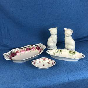 Lot # 176 - Miscellaneous Vintage Porcelain Dishes and Cat Figurines
