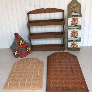 Lot # 188 - Misc. Household Items - Thread Spool Holders, Cookie Jar, Wall Display Racks