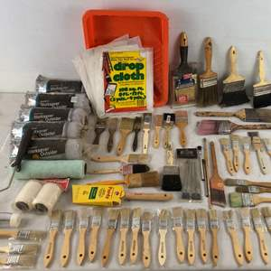 Lot # 243 - Large Lot of Home Painting Supplies and Paint Brushes