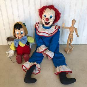 Lot # 294 - Disney Animated Pinocchio Doll, Bozo the Clown Ventriloquist Doll, and Posable Artist Figure
