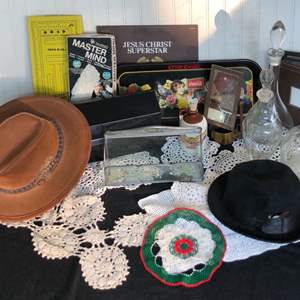 Lot # 297 - Large Miscellaneous Lot - Hats, Decanters, vintage games, mailbox, record, etc…