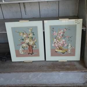 Auction Thumbnail for: Lot # 95 - Two Original DeJong Oriental Floral Paintings