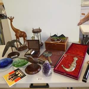 Auction Thumbnail for: Lot # 144 - Decorative Knife, Humidor, Magnifying Glass, Bird Sculptures, Wooden Giraffe, Hourglass & Neiman Marcus Cards