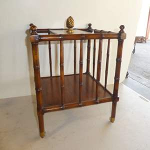 Auction Thumbnail for: Lot # 10 - Adorable Magazine Rack w/ Bamboo Look on Metal Casters