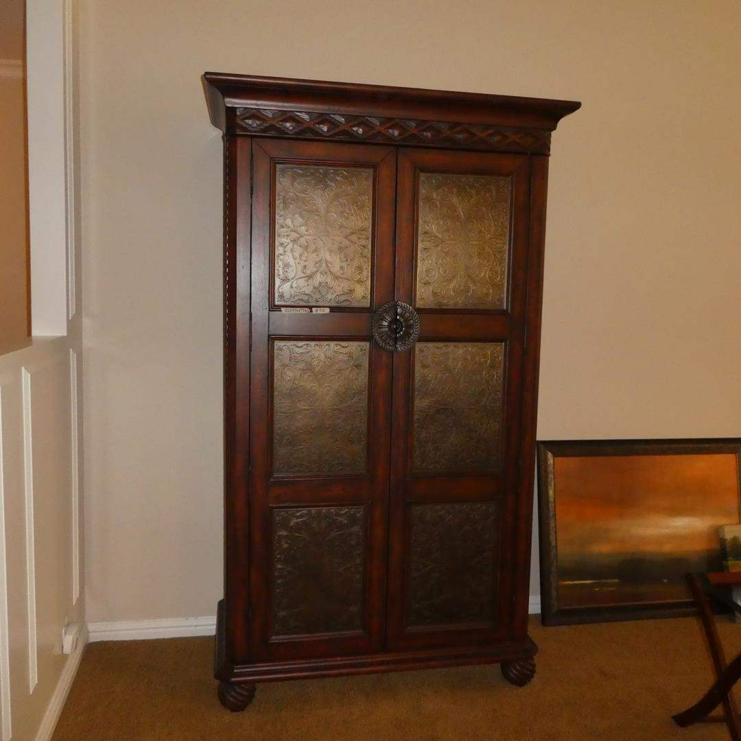 Lot # 56 - Tall Wooden Cabinet w/Decorative Tin Inserts, Shelves & Drawers (main image)