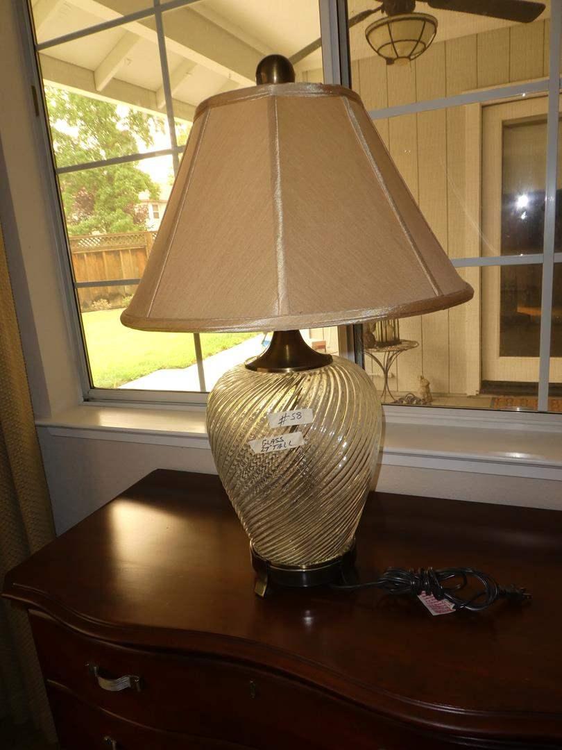Lot # 58 - Swirled Glass Table Lamp (main image)