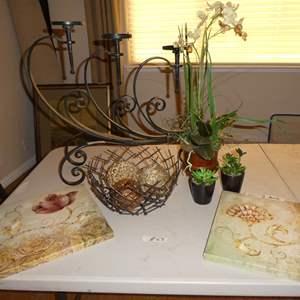Lot # 63 - Two Floral Canvas Prints, Wire Basket w/Decorative Balls, Artificial Plants & Metal Candle Holder