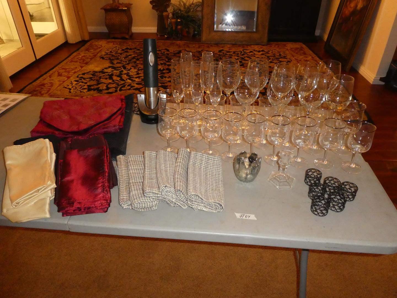 Lot # 64 - Napkins, Professional Wine Opener, Napkin Rings & Assorted Stemware (main image)