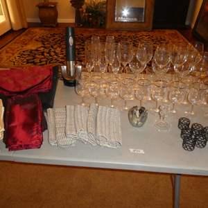 Lot # 64 - Napkins, Professional Wine Opener, Napkin Rings & Assorted Stemware