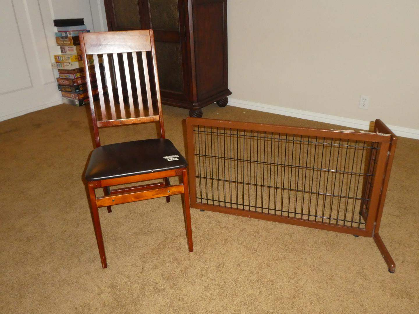 Lot # 65 - Wood Slat Back Folding Chair, Indoor Wire & Wood Panel (main image)