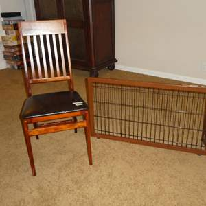 Lot # 65 - Wood Slat Back Folding Chair, Indoor Wire & Wood Panel