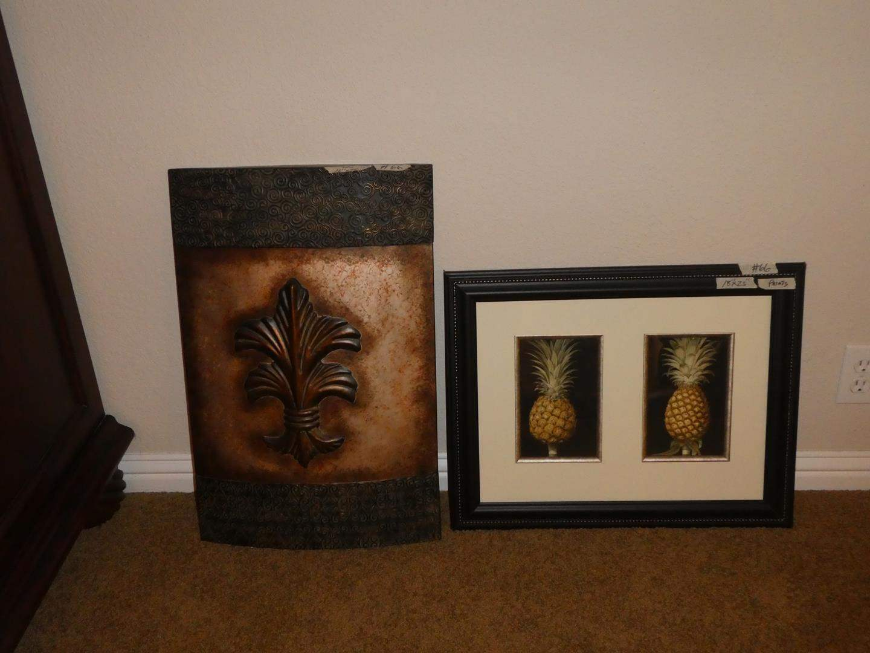 Lot # 66 - Decorative Tin Wall Hanging & Framed Pineapple Print (main image)