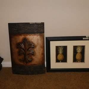 Lot # 66 - Decorative Tin Wall Hanging & Framed Pineapple Print