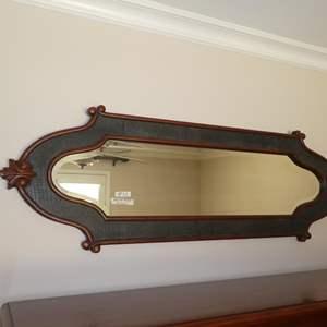 Lot # 72 - Long Wood Framed Beveled Glass Wall Mirror