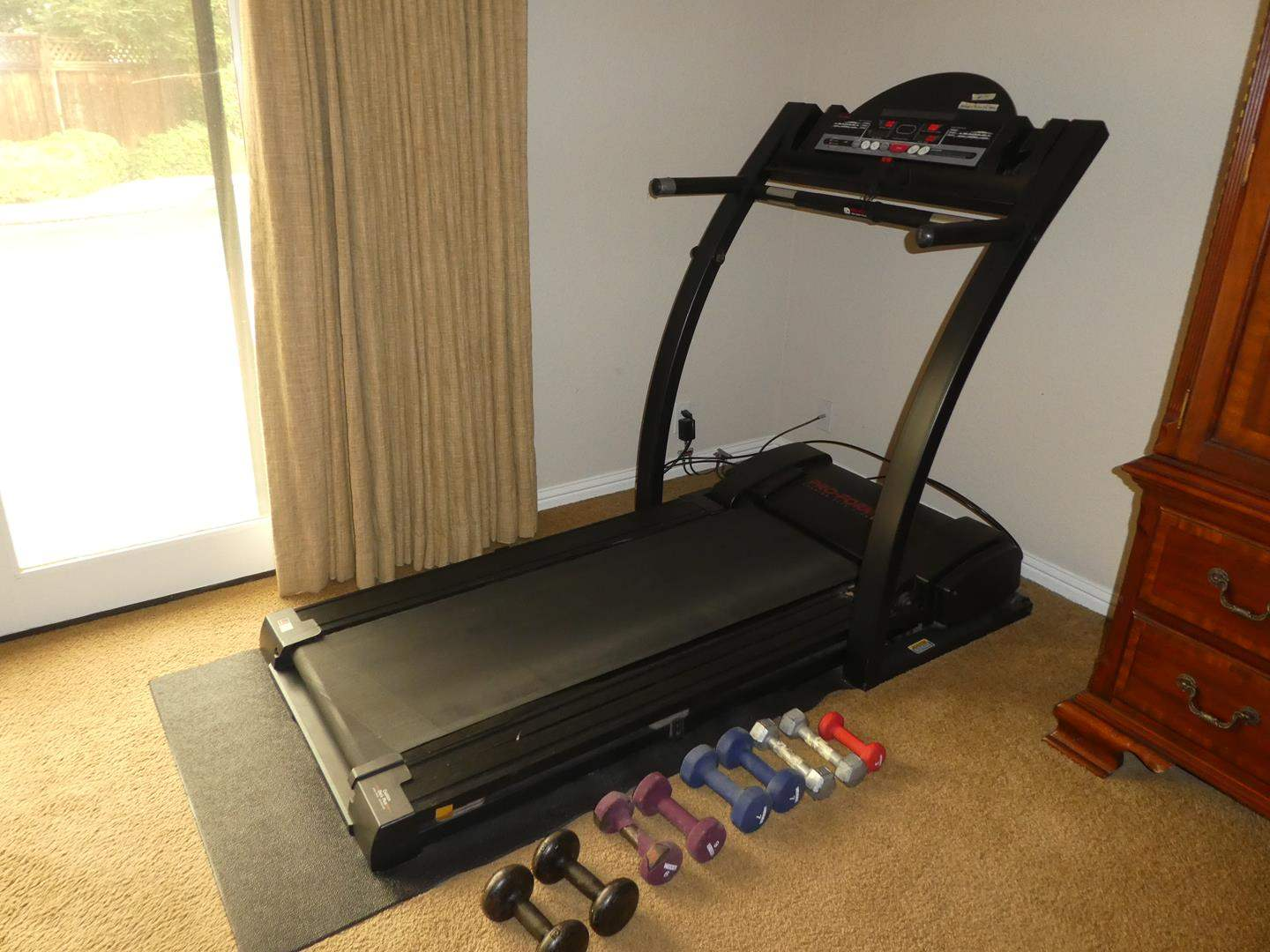 Lot # 74 - Pro-Form J8 Space Saver Cushion Deck Plus Treadmill & Arm Weights (main image)
