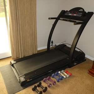 Lot # 74 - Pro-Form J8 Space Saver Cushion Deck Plus Treadmill & Arm Weights