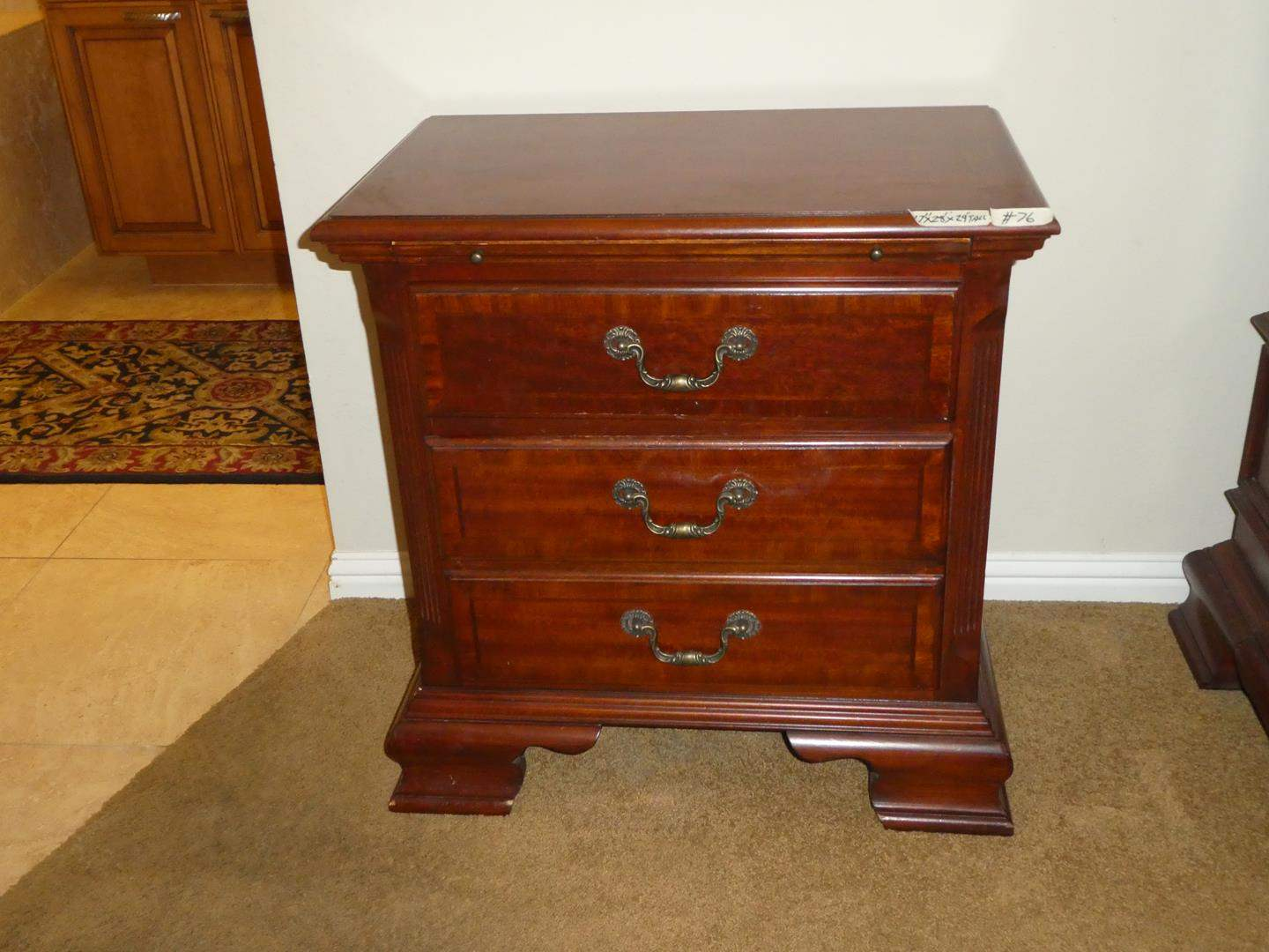 Lot # 76 - Wooden 2 Drawer Nightstand w/Pull Out Tray (main image)