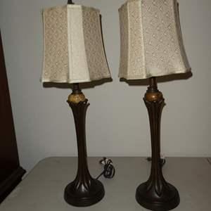 Lot # 77 - Pair Resin & Marble Dresser Lamps