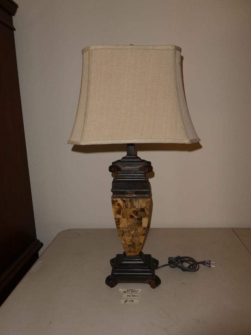 Lot # 78 - Marble & Resin Base Table Lamp (main image)