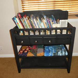 Lot # 82 - Fun Children's Books, Infant Wooden Changing Table w/Drawer & Two Throws