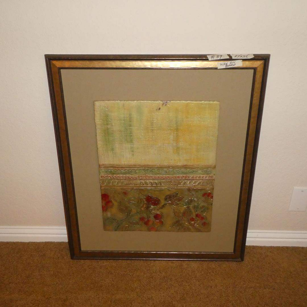 Lot # 89 - Large Framed Wax Art Painting (main image)