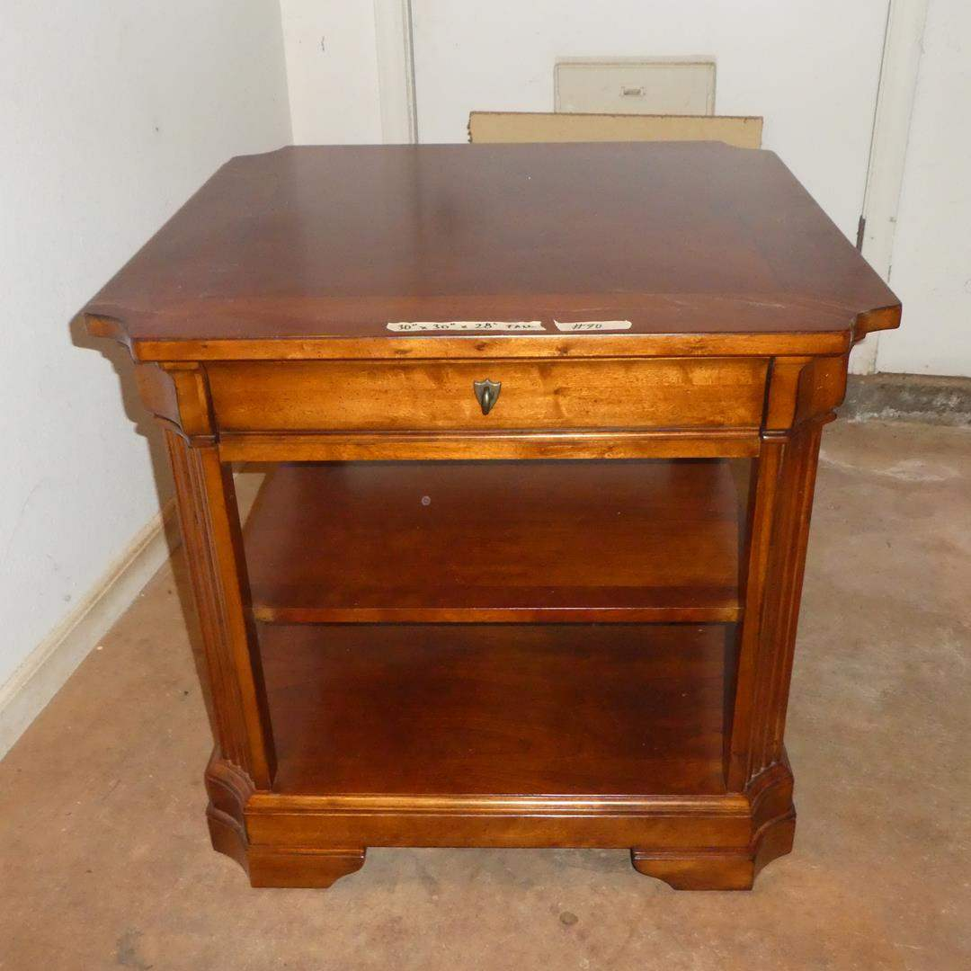 Lot # 90 - Quality Wood End Table w/Drawer & Shelves (main image)