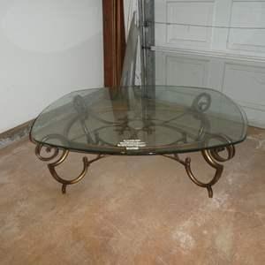 Lot # 91 - Polished Edge Glass Top Coffee Table on Metal Base