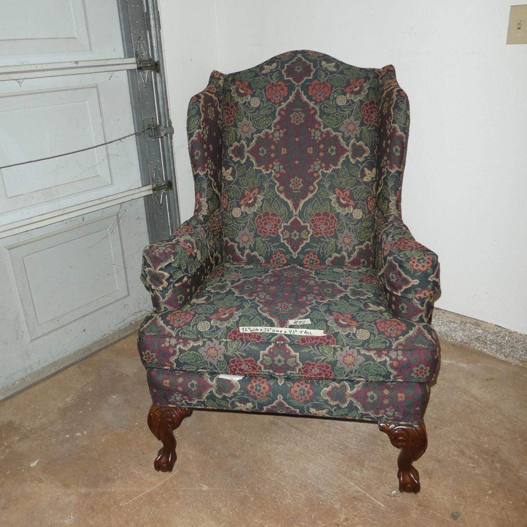 Lot # 92 - Broyhill Premier Upholstered Wing Back Arm Chair w/Claw Feet (main image)