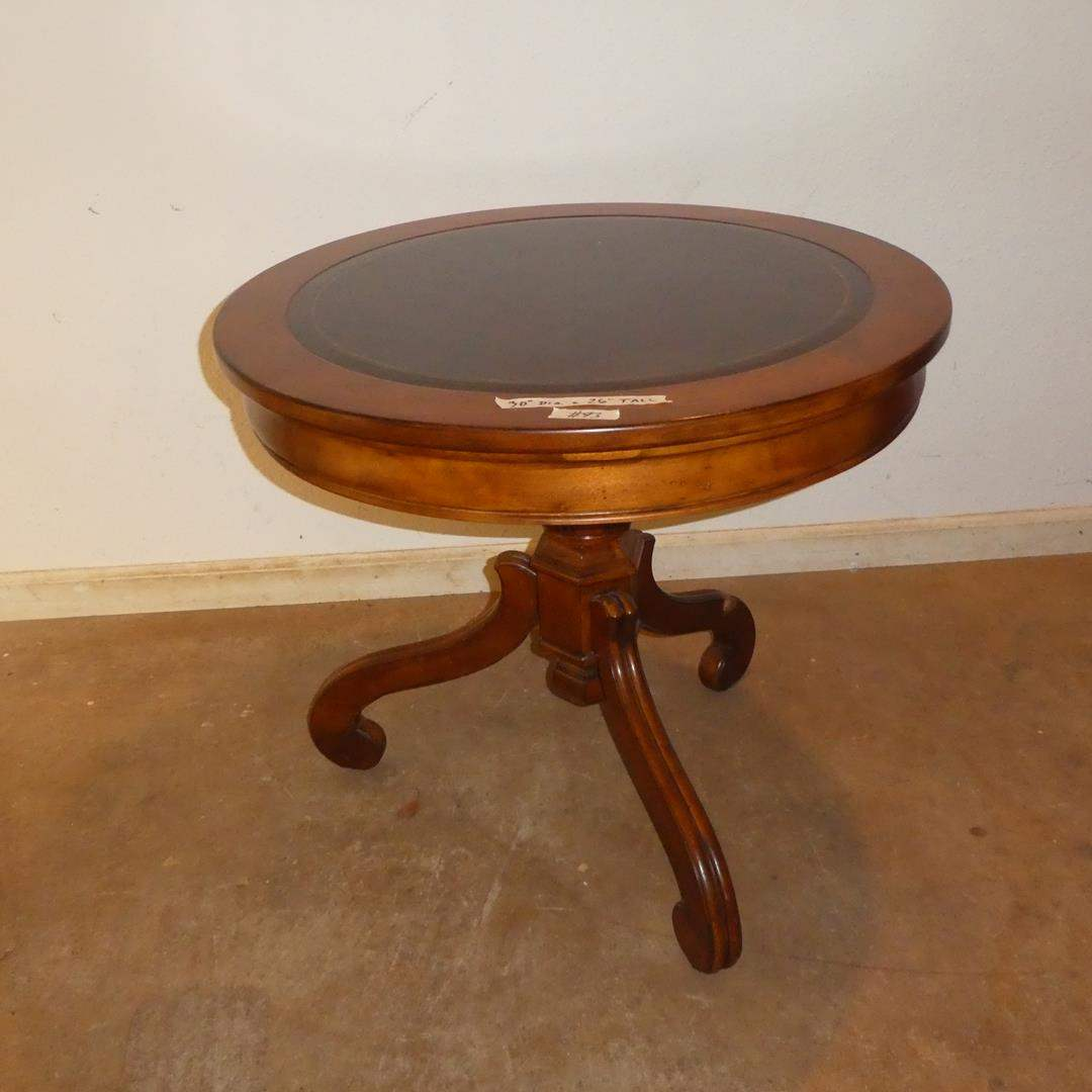 Lot # 93 - Round Wooden Drum Table w/Leather Top (main image)