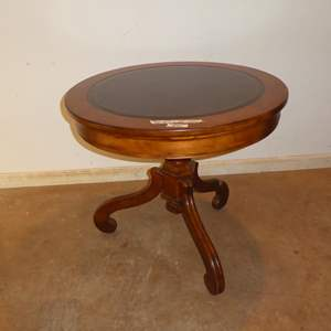 Lot # 93 - Round Wooden Drum Table w/Leather Top