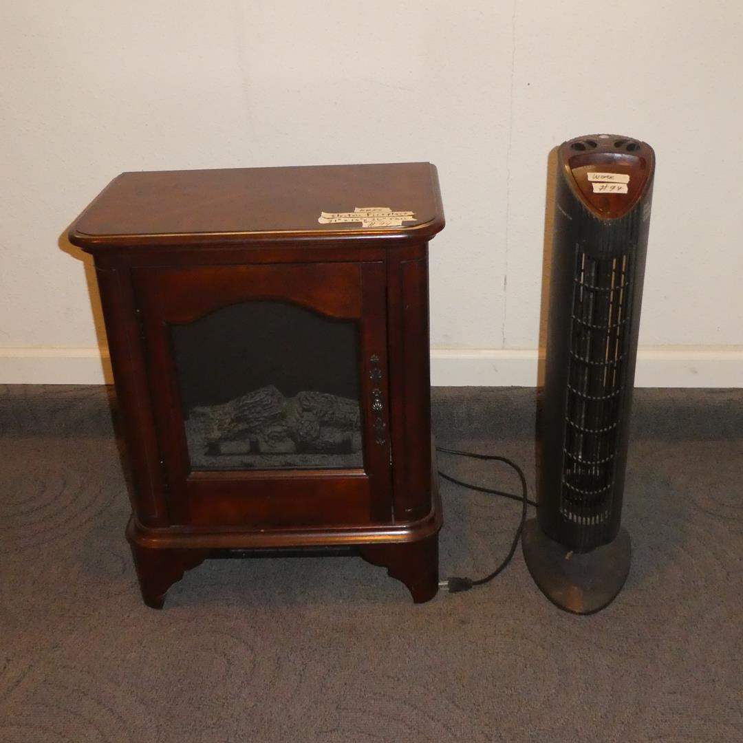 Lot # 94 - Twin Star Small Electric Fireplace & Ionic Breeze Silent Air Purifier  (main image)