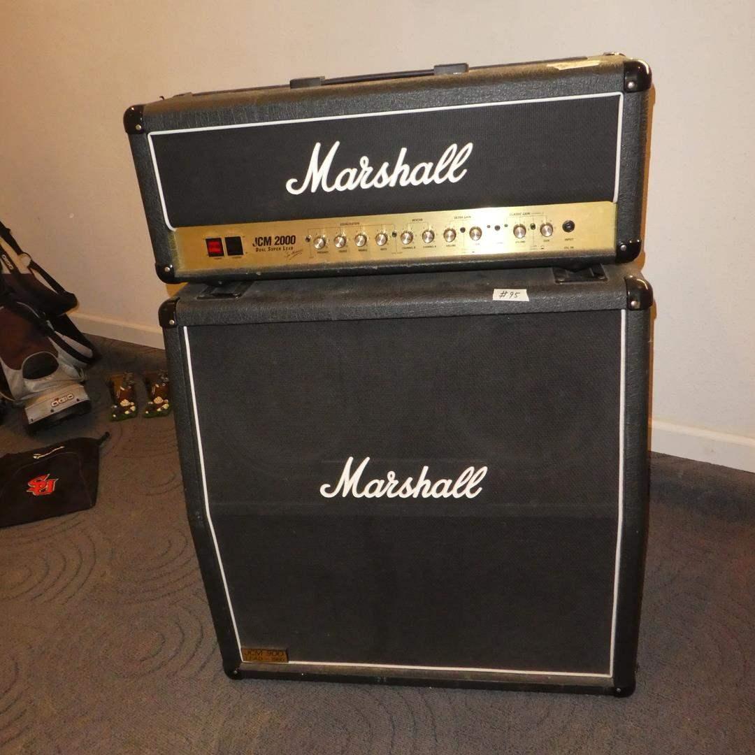 Lot # 95 - Marshall JCM2000 DSL100 Dual Super Lead 2Channel 100-Watt Guitar Amp Head & Marshall JCM900 Lead Series 1960A Cabinet (main image)