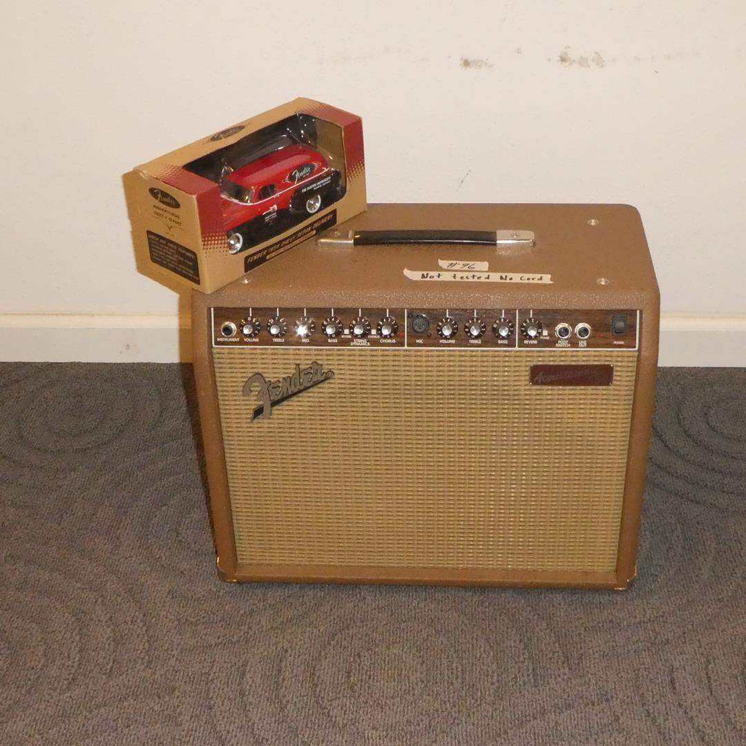 "Lot # 96 - Fender Acoustasonic 30 DSP 2-Channel 30-Watt 1x8"" Acoustic Guitar Amp with Onboard Effects & Fender Chevy Sedan Car (main image)"